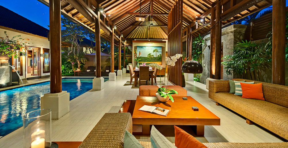 Toba - Living and dining areas at night