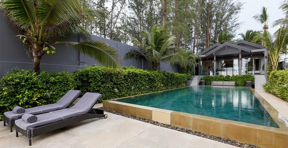 infinity blue phuket tropical lush natai beach villa images